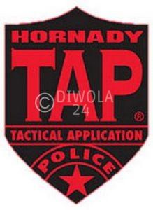 """Hornady Aufkleber """"TAP"""", schwarz und rot, Größe ca. 7 x 9,5 cm, Art.-Nr.: 98001"""