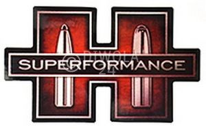 """Hornady Aufkleber """"Superformance"""", weiß und rot, Größe ca. 7,5 x 13 cm, Art.-Nr.: 98008"""