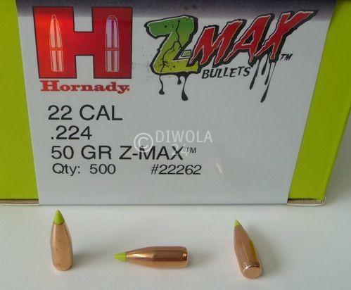 .224, 50 grain, Hornady Geschosse, Z-Max --> entspricht V-Max BT, Art.-Nr.: 22261