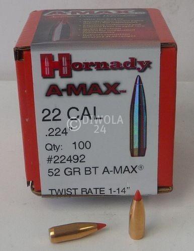 .224, 52 grain, Hornady Geschosse, A-MAX, Art.-Nr.: 22492