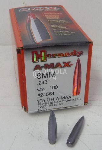 .243, 105 grain, Hornady Geschosse, A-MAX MOLY, Art.-Nr.: 24564