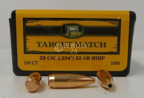 .224, 52 grain, Speer Geschosse, HP-B.T. Match, Art.-Nr.: 1036