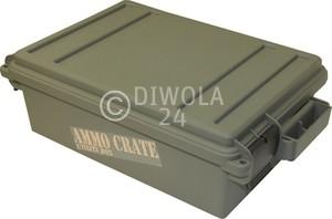 MTM Munitionskiste, Größe aussen ca. 44 x 27 x 14 cm, innen ca. 33 x 23 x 12 cm. Mit O-Ring im Deckel daduch wasserdicht, mit Vorhängeschloss verschließbar, Farbe grün, Art.-Nr.: ACR4-18
