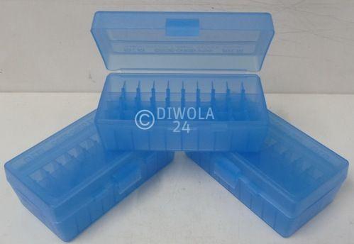 50er MTM Patronenbox, blau, .44 / .44 Mag.