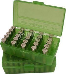 50er MTM Patronenbox, Klappdeckel, klar-grün, .45 ACP, Art.-Nr.: P50-45-16