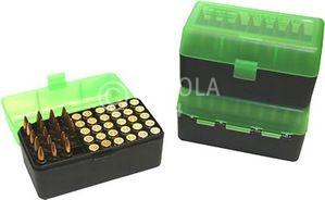 50er MTM Patronenbox, grün / schwarz, Größe RM, für .220 Swift, .243 Win., .., Art.-Nr.: RM-50-16T