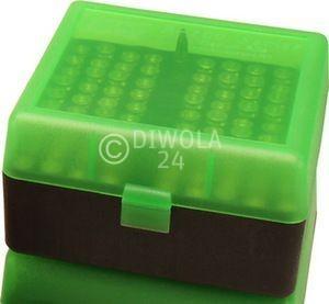 100er MTM Patronenbox, grün / schwarz, Größe RS für .17 / .222 / .223 ..., Art.-Nr.: RS-100-16T
