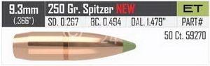 .366, 250 grain, Nosler Geschosse, SPITZER, E-TIP, bleifrei, Art.-Nr.: 59270