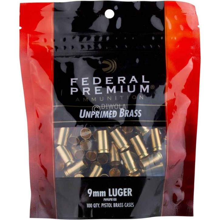 9 mm Para Federal Hülsen, bereits mit Federal 100, Small Pistol Zündhütchen gezündert, Art.-Nr.: UP357P